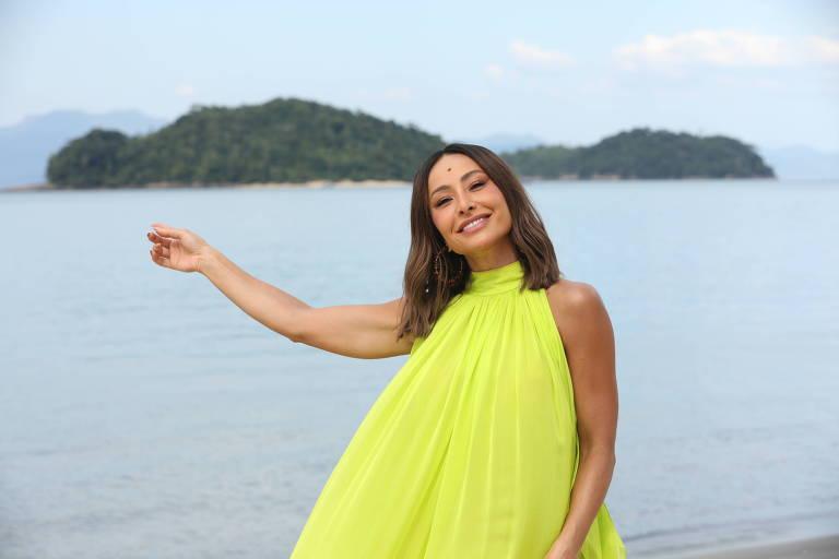 Sabrina Sato nas gravações do Ilha Record