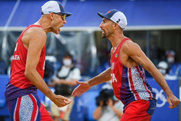 Os americanos Lucena e Dalhausser vencem por 2 x 1 os brasileiros Alison e Alvaro Filho