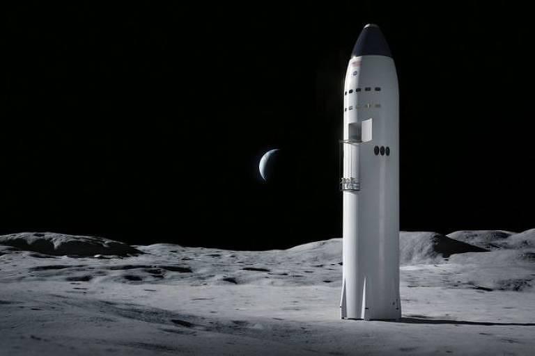 Imagem de reprodução mostra foguete para levar astronautas na Lua