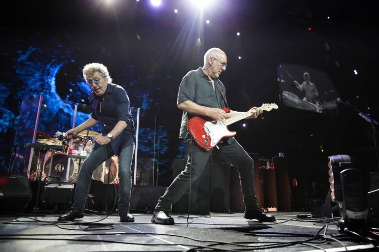 Roger Daltrey e Pete Townshend, do The Who, tocam no Honda Center, na Califórnia, em 2016