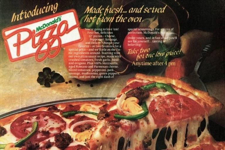 Anúncio de pizza da rede McDonald's, dos anos 1980