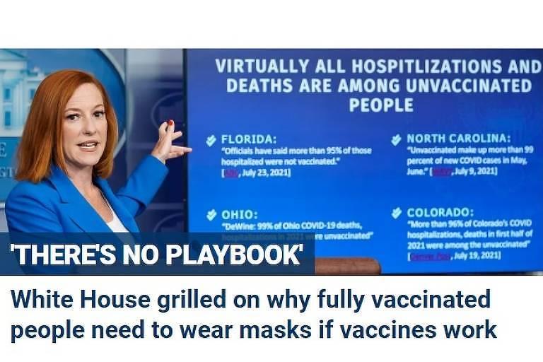 Em 'reviravolta', EUA recomendam que vacinado use máscara