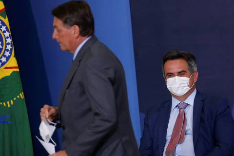 Brazil's President Jair Bolsonaro and senator Ciro Nogueira attend a ceremony of signing a decree establishing the Public Integrity System of the Federal government at the Planalto Palace in Brasilia, Brazil July 27, 2021. REUTERS/Adriano Machado ORG XMIT: GGGAHM20