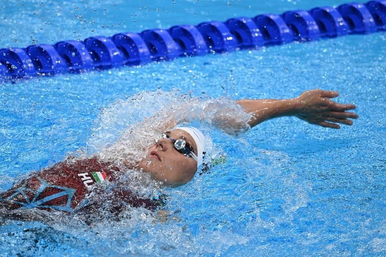 A nadadora húngara Katinka Hosszu durante competição dos 400 m medley nas Olimpíadas de Tóquio