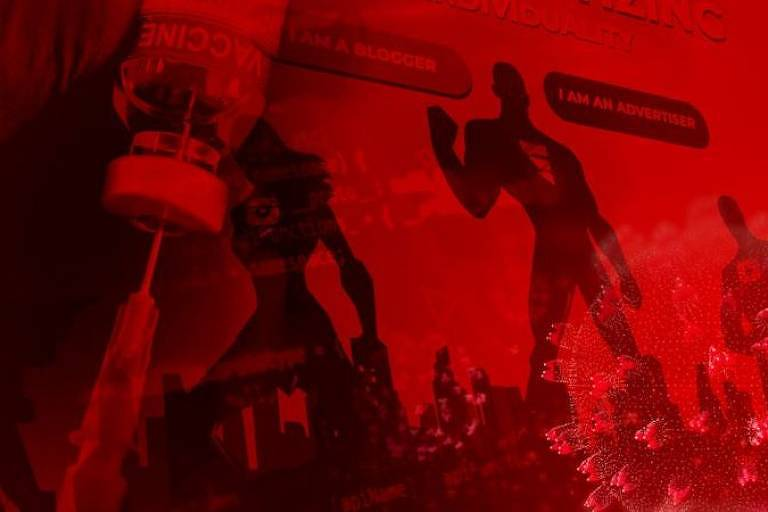 Ilustração em tom de vermelho e preto mostra, em destaque, um seringa sendo espetada em uma ampola de vacina. Ao fundo, imagens que parecem ser de super-herois