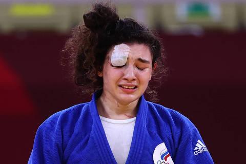 Tokyo 2020 Olympics - Judo - Women's 70kg - Bronze medal match - Nippon Budokan - Tokyo, Japan - July 28, 2021. Madina Taimazova of the Russian Olympic Committee reacts after winning bronze REUTERS/Sergio Perez