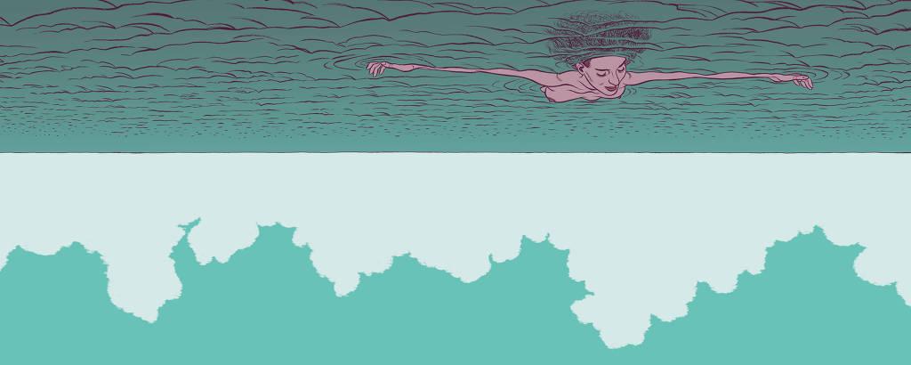 pessoa deitada no mar de cabeça pra baixo