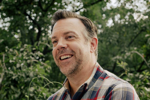 The actor Jason Sudeikis at his home in New York, June 29, 2021. In ÒTed Lasso,Ó Jason Sudeikis plays a character he helped create in 2013 for NBC Sports promos. (Daniel Dorsa/The New York Times) ORG XMIT: XNYT113