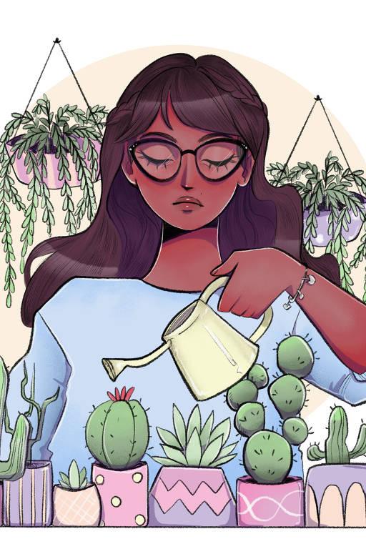 Ilustração de mulher regando plantas
