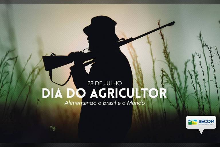 """Homem com espingarda em matagal, com a frase """"dia do agricultor"""" escrita em branco"""