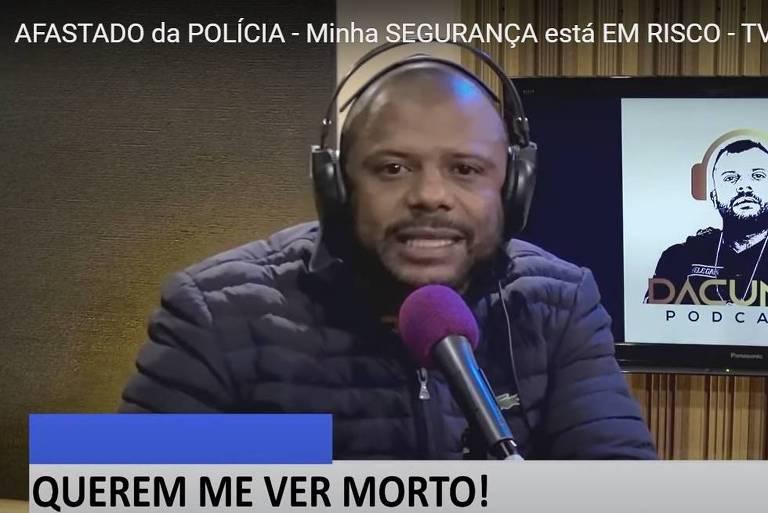 Reprodução do canal do Delegado Da Cunha em vídeo sobre sua transferência para atividades burocráticas