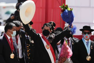 Peru's President Castillo participates in an event at the Pampas de Ayacucho Historic Sanctuary, in Ayacucho