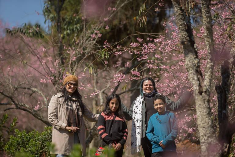 A floração das cerejeiras já começou no parque do Carmo, em Itaquera (zona leste de São Paulo). Cecília Brito, 45 anos, com a filha Dewmi, 8, e a amiga Celi Vieira, 39, com o filho Victor Hugo, 9.