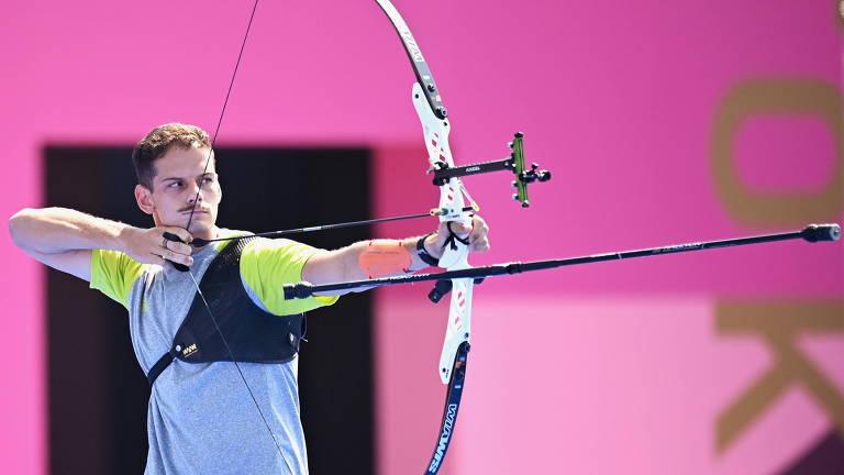 Marcus D'Almeida durante disputa nas Olimpíadas de Tóquio
