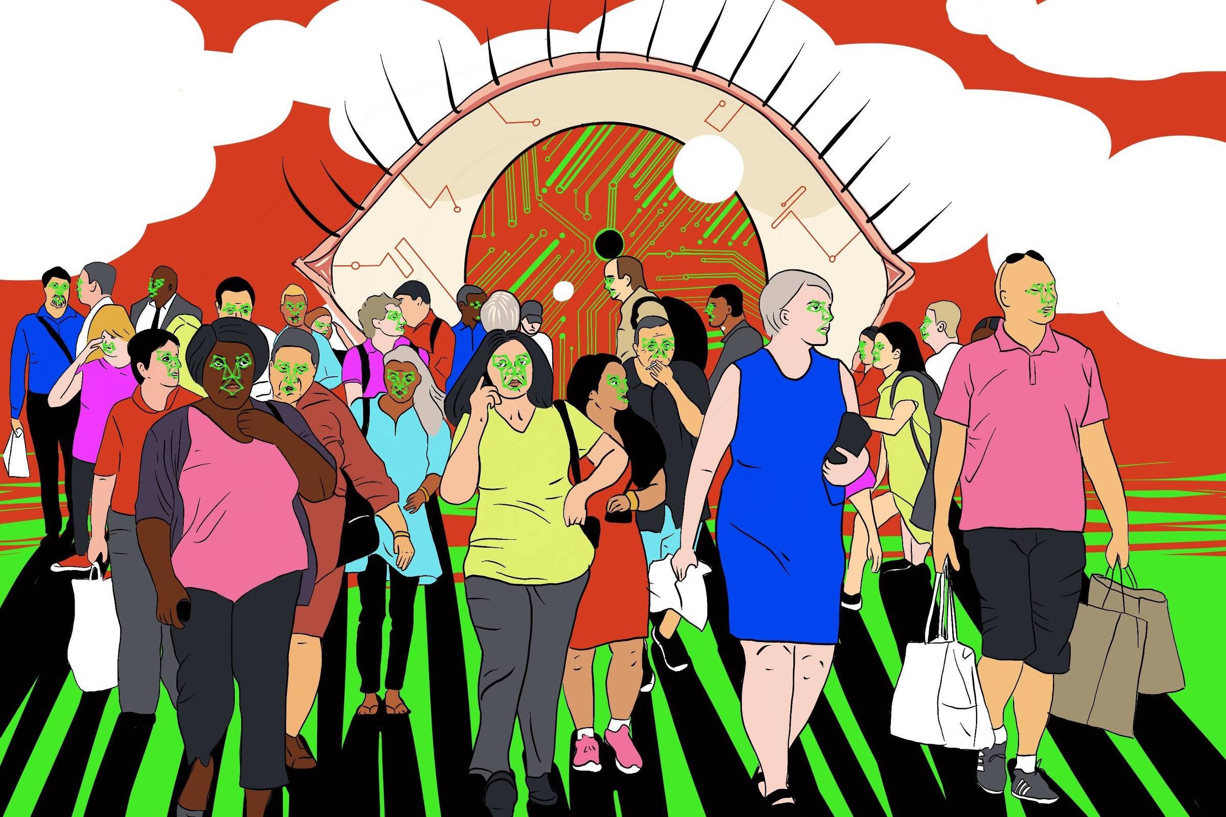 Ilustração mostra multidão e pessoas variadas andando, atrás delas, um olho gigante com segmentos de chip de computador no lugar de veias.