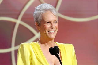 Jamie Lee Curtis presents an award in this handout photo from the 78th Annual Golden Globe Awards in Beverly Hills