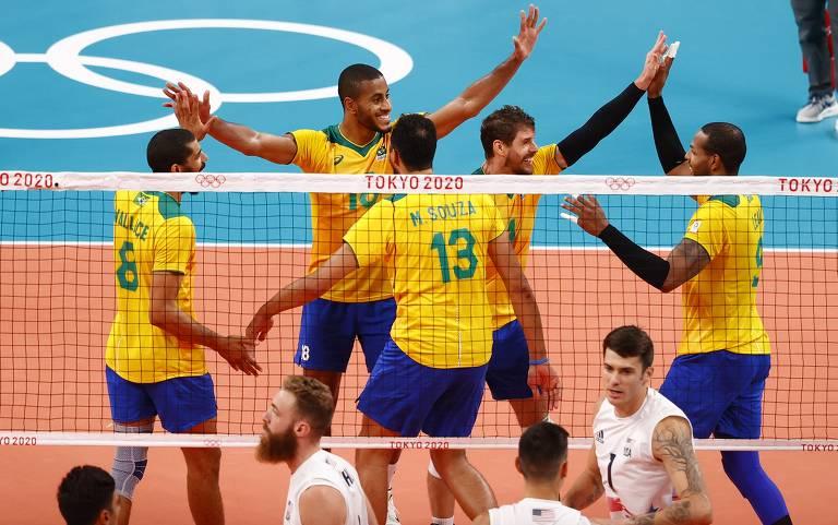 Brasil vence os EUA por 3 sets a 1 com parciais de 30/32, 25/23, 25/21 e 25/20