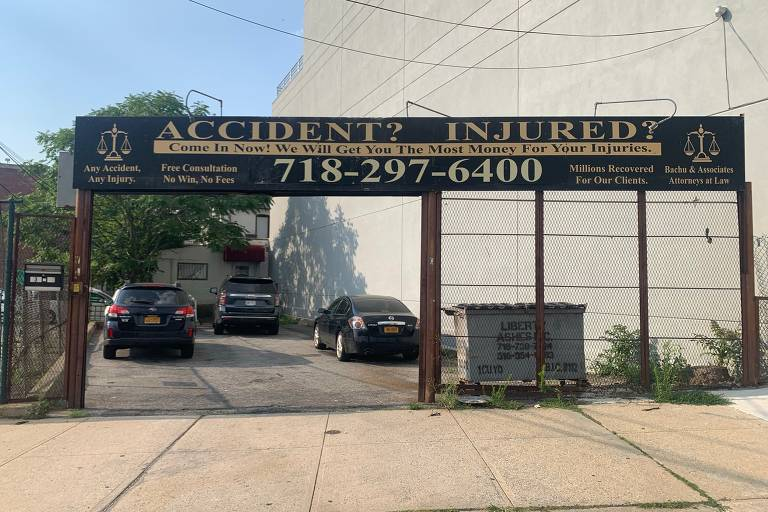Endereço onde está registrada firma International Covid Solutions Corp, nos fundos de um escritório de advocacia no Queens, em Nova York