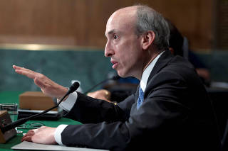FILE PHOTO: Former CFTC chair Gensler testifies at a 2013 Senate Banking, Housing and Urban Affairs Committee hearing on Capitol Hill