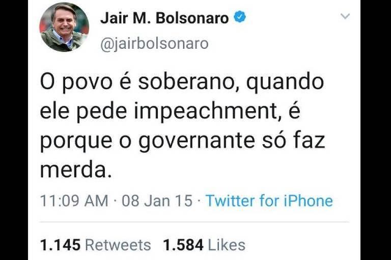 """Print do falso tuíte. Tem a fotinho do rosto de Bolsonaro e a @ do perfil do presidente, @jairbolsonaro com o símbolo azul do Twitter de perfil verificado. No post, está escrit:  """"O povo é soberano, quando ele pede impeachment, é porque o governante só faz merda"""""""