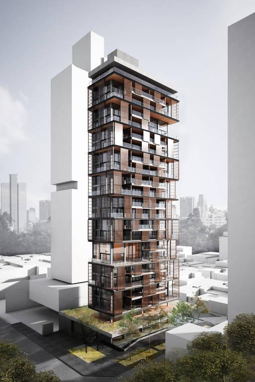 Projeto de prédio com superfície marrom