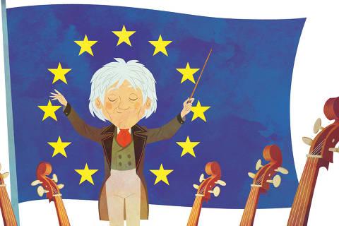 Ilustração do livro 'Ludwig van Beethoven – O Gênio que Compôs Sinfonias', 11º volume da Coleção Folha – Grandes Biografias para Crianças