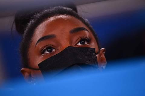 Simone Biles não vai competir nas barras e no salto, especialidade de Rebeca