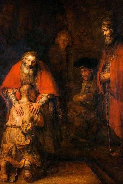 Muitos outros pintores retrataram a cena descrita no Evangelho segundo Lucas, incluindo Rembrandt com 'O Retorno do Filho Pródigo' (1668)