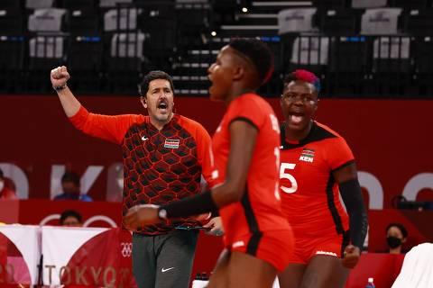 Tokyo 2020 Olympics - Volleyball - Women's Pool A - Dominican Republic v Kenya - Ariake Arena, Tokyo, Japan ? July 31, 2021. Kenya coach Luizomar de Moura reacts. REUTERS/Carlos Garcia Rawlins