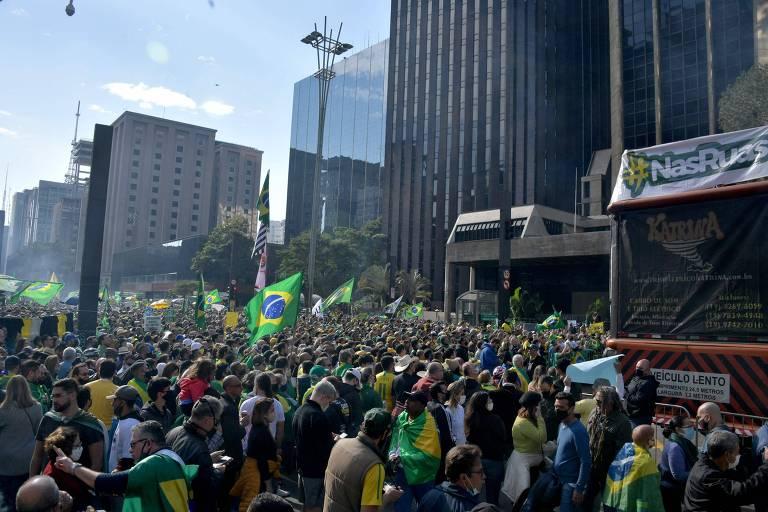 Apoiadores do presidente Jair Bolsonaro (sem partido) na avenida Paulista, em São Paulo