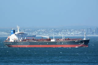 The Mercer Street, a Japanese-owned Liberian-flagged tanker managed by Israeli-owned Zodiac Maritime that was attacked off Oman coast as seen in Cape Town