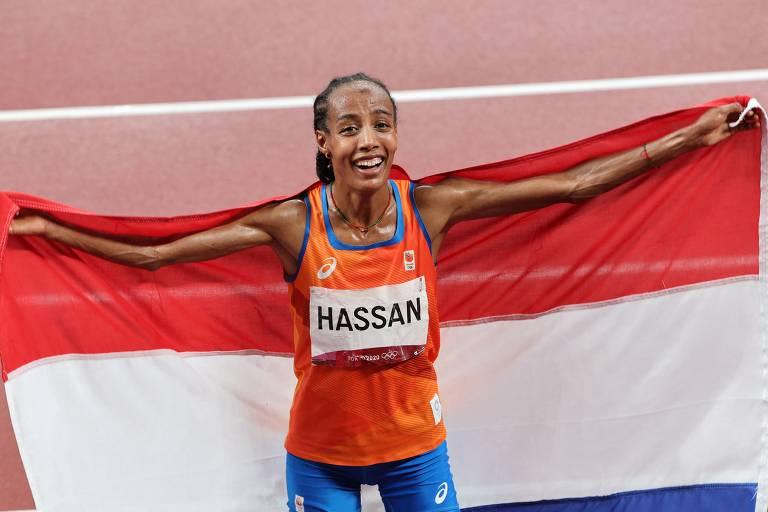 Veja imagens de Sifan Hassan, medalhista de ouro dos 5000 m feminino