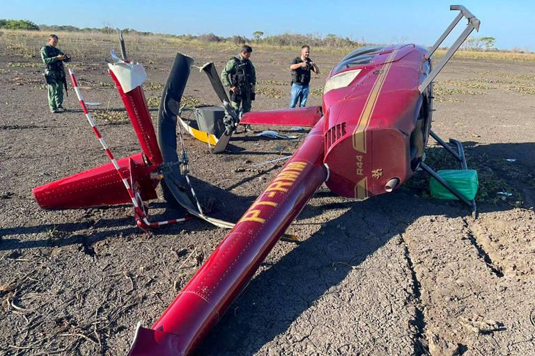 Helicóptero carregado com 300 kg de cocaína cai em Mato Grosso; veja vídeo