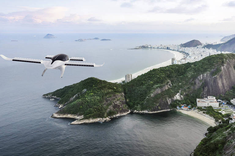 aeronave sobrevoa o litoral do Rio