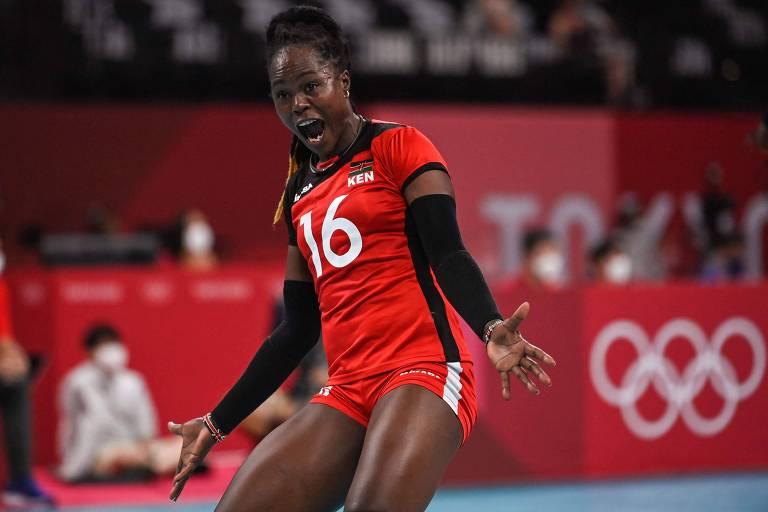 Sem vencer um set, atletas de vôlei do Quênia deixam Tóquio sorrindo