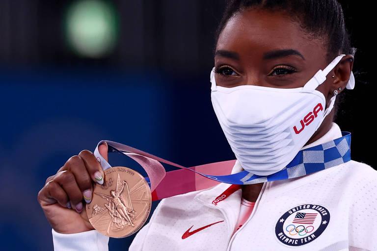 Simone Biles conquista o bronze na ginástica em despedida das Olimpíadas de Tóquio