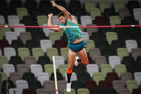 03.08.2021 - Jogos Olímpicos Tóquio 2020 - Atletismo masculino. Salto com vara. Na foto o atleta Thiago Braz. Foto: Gaspar Nóbrega/COB