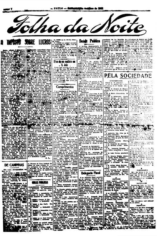 Primeira Página da Folha da Noite de 1º de outubro de 1921