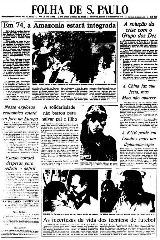 Primeira Página da Folha de 2 de outubro de 1971