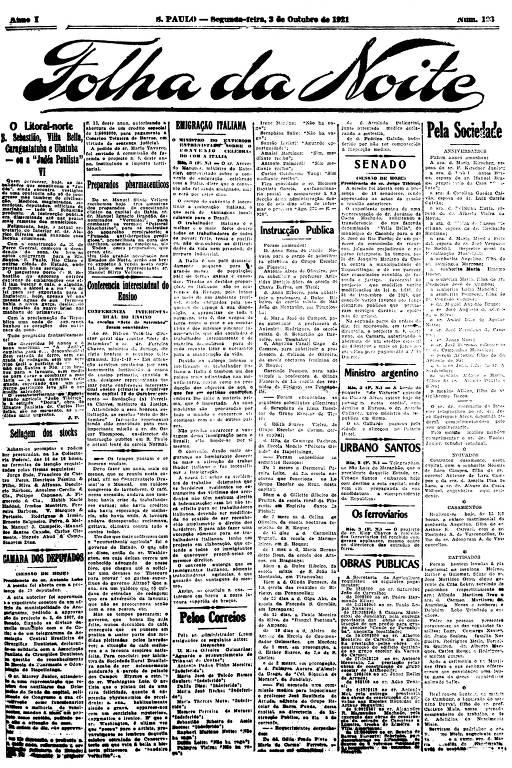 Primeira Página da Folha da Noite de 3 de outubro de 1921