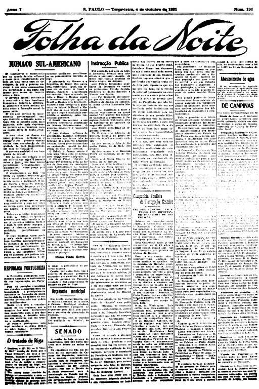 Primeira Página da Folha da Noite de 4 de outubro de 1921