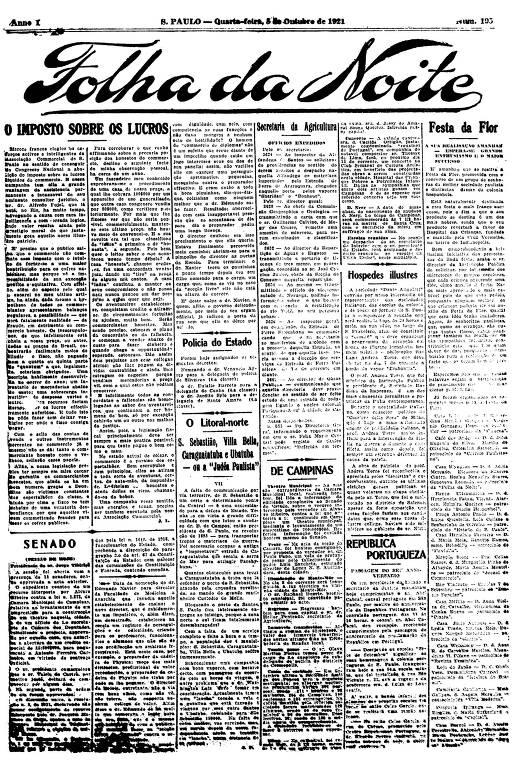 Primeira Página da Folha da Noite de 5 de outubro de 1921