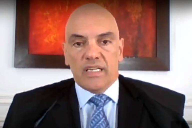 O ministro Alexandre de Moraes durante sessão do Supremo Tribunal Federal por videoconferência