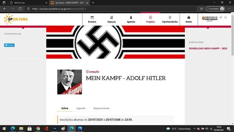 Foto do site SPcultura com o projeto de Exibição do livro 'Minha Luta', de Adolf Hitler