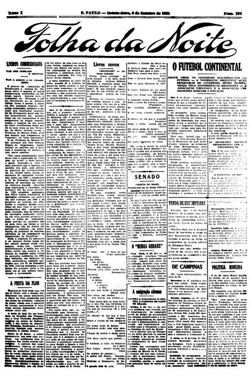 Primeira Página da Folha da Noite de 6 de outubro de 1921
