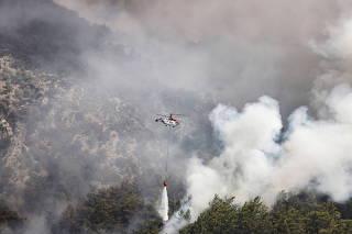 Huge wildfire rages in Aegean town of Koycegiz