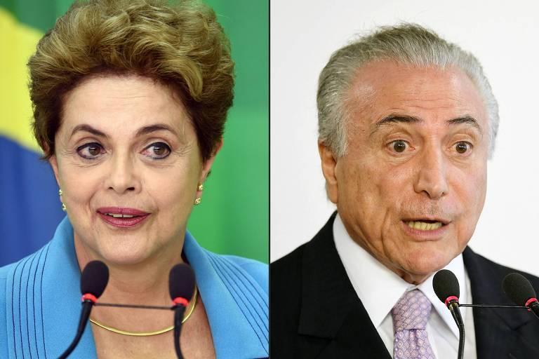 Montagem com foto do rosto de Dilma à esquerda - ela veste azul e fala ao microfone; à direita, foto de Temer, de camisa branca e terno escuro, também falando ao microfone