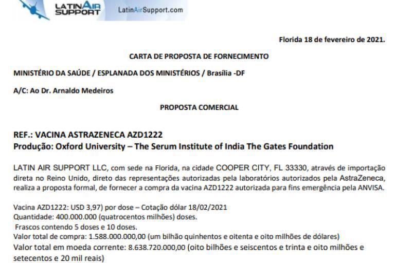 Mensagem enviada por Cristiano Carvalho ao Ministério da Saúde com o nome da Latin Air Support