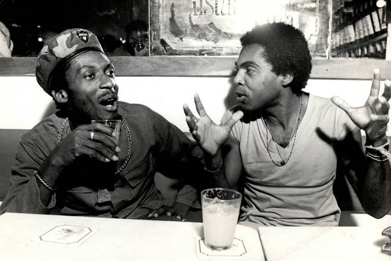 Jimmy Cliff e Gilberto Gil em maio de 1980