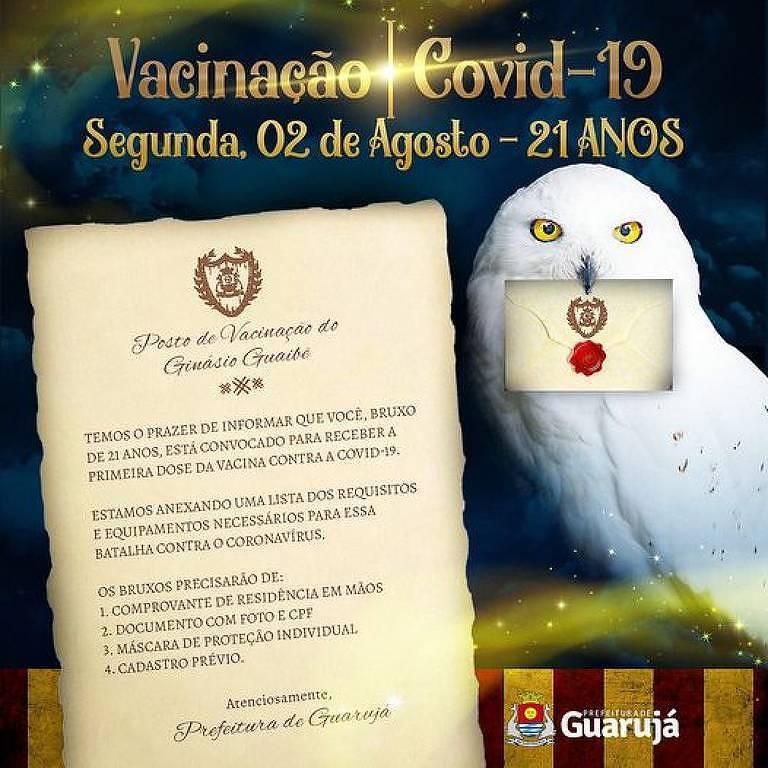 Carta de Hogwarts convida quem tem 21 anos ou mais para se vacinar em Guarujá (SP)